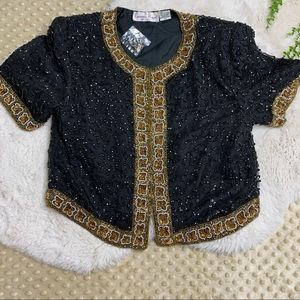 VTG. New Laurence Kazar Beaded Sequence Top PM
